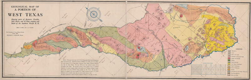 Geological Map Of A Portion Of West Texas Digie